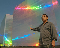 Artist Hiro Yamagata creates large-scale holographic works in the sky with lasers. Photo credit: Flickr.com